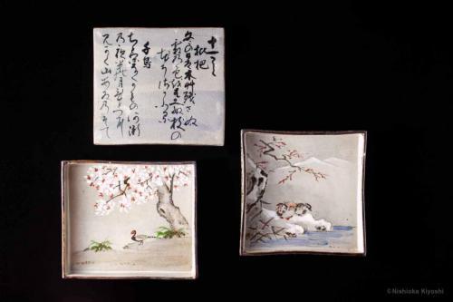 乾山写色絵十二ヶ月色紙皿<br>Kenzan utsuhi square dish with 12 months scenery<br>17.0 x 17.0 x h2.7(cm)<br>photograph: NISHIOKA Kiyoshi